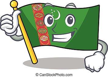 Cartoon of flag turkmenistan making Thumbs up gesture