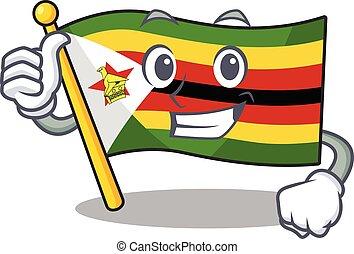 Cartoon of flag zimbabwe making Thumbs up gesture