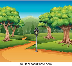 Cartoon of forest background with dirt road