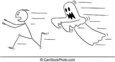 Cartoon of Frightened Man Running Away From Ghost