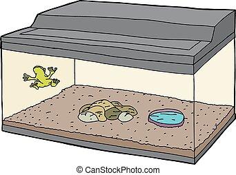 Cartoon of Frog in Aquarium - Cartoon of little frog on wall...