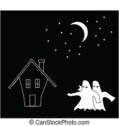 cartoon of ghosts attack the house