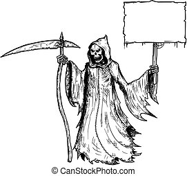 Cartoon of Grim Reaper with Scythe and Black Hood Holding Empty Sign