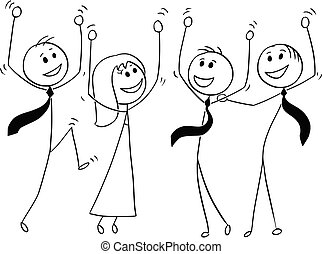 Cartoon of Group of Business People Celebrating Success