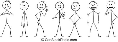 Cartoon of Group of Men or Businessmen in Angry Poses