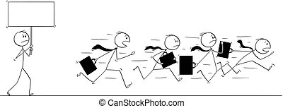 Cartoon of Group or Team of Businessmen Running in Panic Away From Man With Empty Sign