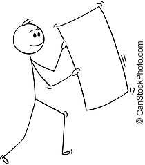 Cartoon of Happy Businessman Carrying Big Empty or Blank Sheet of Paper