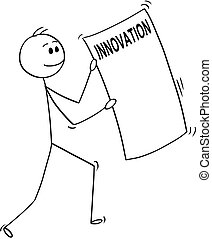 Cartoon of Happy Businessman Carrying Big Sheet of Paper with Innovation Text