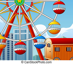 Cartoon of happy kids playing outdoors with amusement park background
