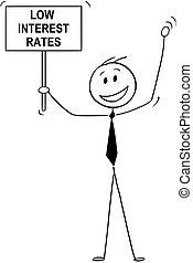 Cartoon of Happy Man, Banker or Businessman Celebrating Low Interest Rates