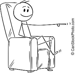 Cartoon of Happy Man or Businessman Sitting in Armchair and Pointing at Something