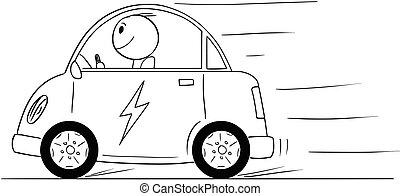 Cartoon of Happy Man Riding Electric Car