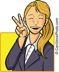 Cartoon of Happy Office Worker Girl