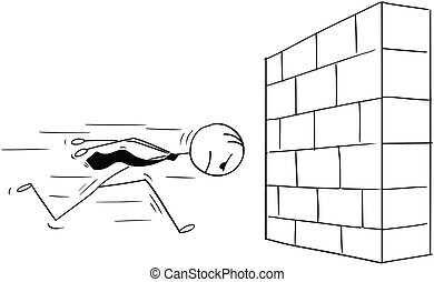 Cartoon of Headstrong Businessman Running Head First Against Wall