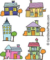 Cartoon of house set colorful