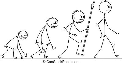 Cartoon of Human Evolution Process Progress