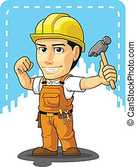 Cartoon of Industrial Construction - A vector image of a...