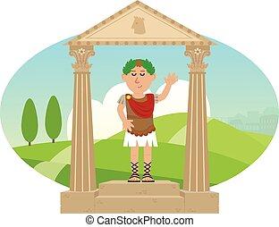 Julius Caesar - Cartoon of Julius Caesar standing on a...