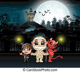 Cartoon of kids wearing halloween costume with a background of full moon