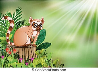 Cartoon of lemur sitting on tree stump with green leaves and flowering plant