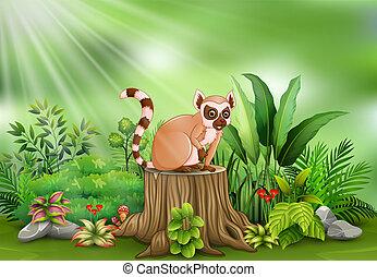 Cartoon of lemur sitting on tree stump with green plants