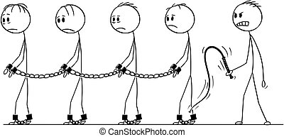 Cartoon of Line of Slaves Walking in Chains and Slave Master With Whip