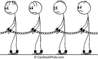 Cartoon of Line of Slaves Walking in Chains
