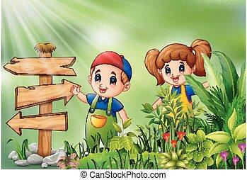 Cartoon of little farmer standing beside signpost