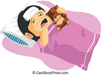 Cartoon of Little Girl Having Fever