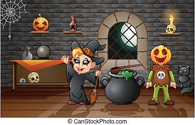 Cartoon of little witch and pumpkin mask