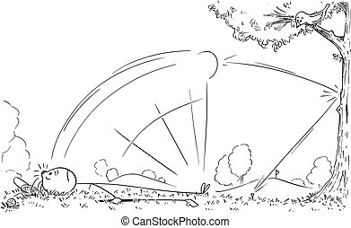 Cartoon of Male Golf Player Hit by His Ball