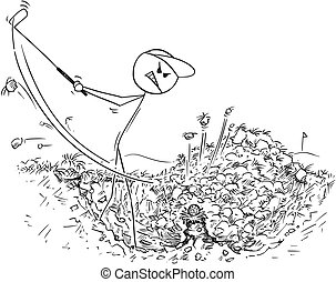 Cartoon of Male Golf Player in Grass Hole