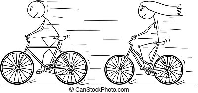 Cartoon of Man and Woman or Girl and Boy Riding on Bicycle