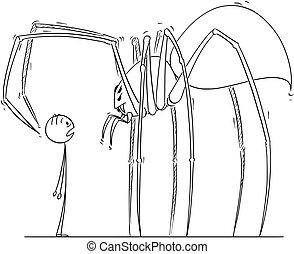 Cartoon of Man Facing Giant Spider Monster