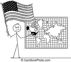 Cartoon of Man Holding US Flag and Pointing at United States of America on Wall World Map
