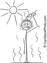 Cartoon of Man in Hot Summer Pouring Water From Bottle on His Head