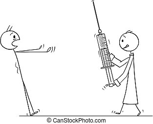 Cartoon of Man in Panic Looking at Doctor Coming with Big Injection or Syringe