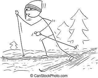 Cartoon of Man Male Skiing Skating