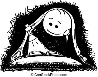 Cartoon of Man or Boy Reading a Book With Flashlight in Bed Under Blanket