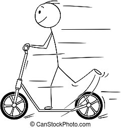 Cartoon of Man or Boy Riding the Scooter