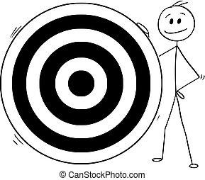 Cartoon of Man or Businessman and Big Dartboard Target