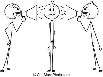 Cartoon of Man or Businessman Between Two Men With Loud Speakers