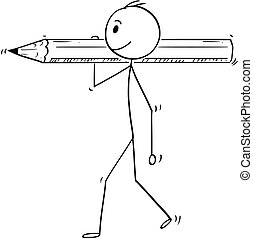 Cartoon of Man or Businessman Carrying Big Pencil