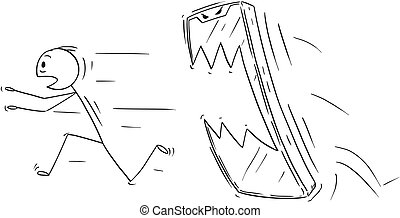 Cartoon of Man or Businessman Chased by His Mobile Phone