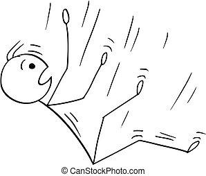 Cartoon of Man or Businessman Falling Down