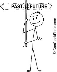 Cartoon of Man or Businessman Holding Past and Future Arrow Signpost