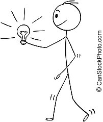 Cartoon of Man or Businessman Holding Shining Lightbulb or Light Bulb