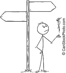 Cartoon of Man or Businessman Making Decision by Flipping a Coin Under Empty Arrows
