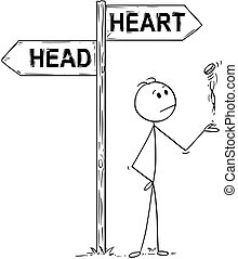 Cartoon of Man or Businessman Making Decision by Flipping a Coin Under Head or Heart Arrows