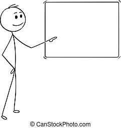 Cartoon of Man or Businessman Pointing at Empty Sign